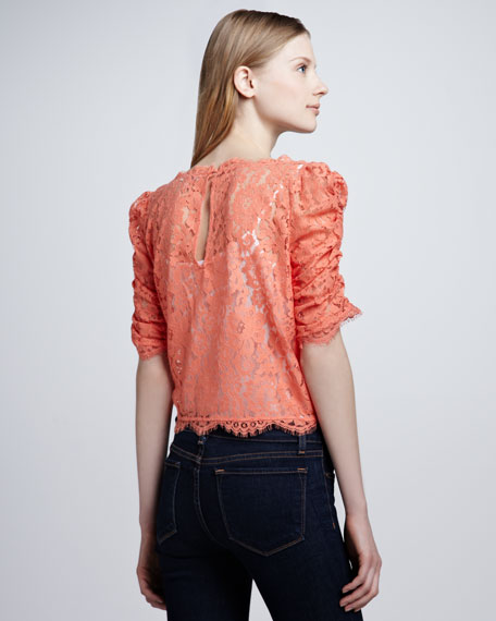 Fanny Boat-Neck Lace Top