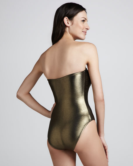 Strapless Sequined One-Piece Swimsuit