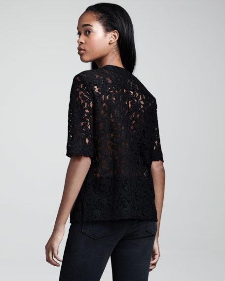 Half-Sleeve Lace Shirt