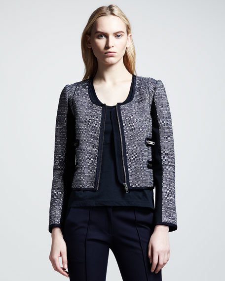 Cropped Colorblock Tweed Jacket