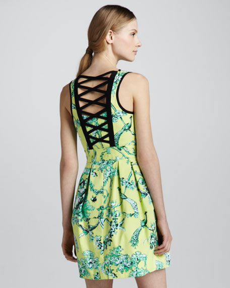 Porcelain-Print Strappy-Back Dress