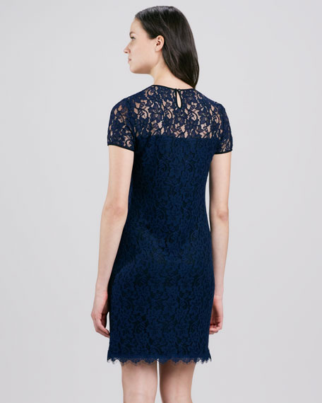 Lace Semisheer-Yoke Dress