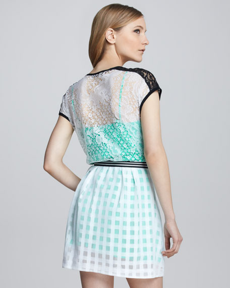Just Dance Belted Lace Dress
