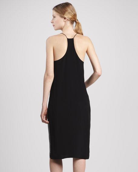 Stripe-Front Silk Halter Dress