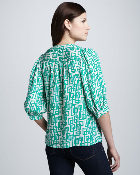 Aimee Geometric-Print Blouse