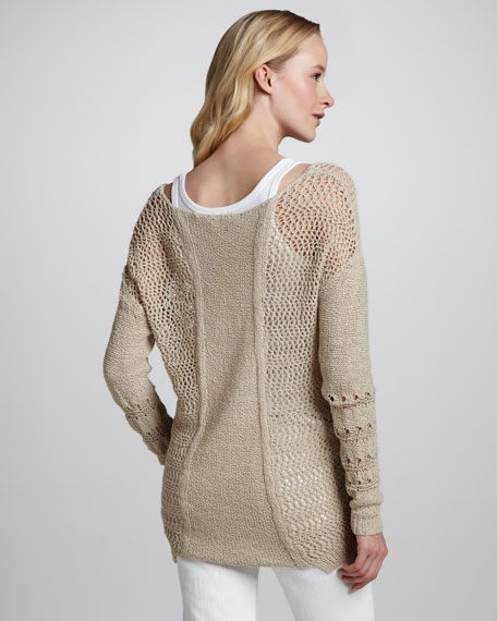 Mixed-Knit Boatneck Sweater
