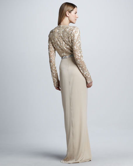 Long-Sleeve Beaded Drape-Skirt Gown