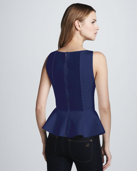 Sleeveless Peplum Top, Nautical Blue