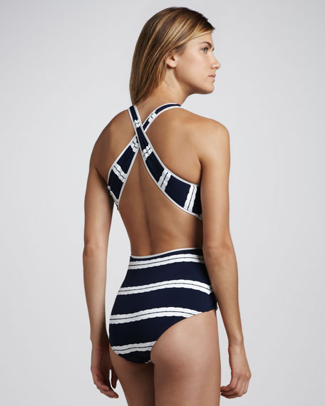 Striped Twist-Front One-Piece Swimsuit