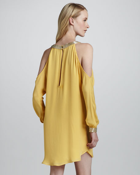 Embellished Cold-Shoulder Cocktail Dress