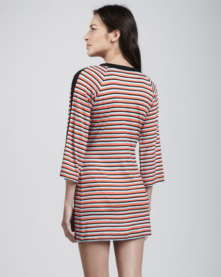 Strobe Light Striped Tunic Coverup