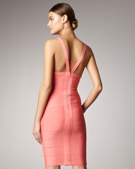 V-Neck Bandage Dress, Pink Coral