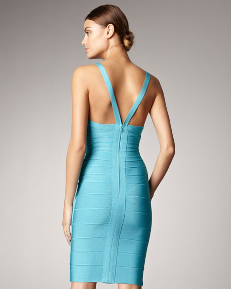 V-Neck Bandage Dress, Peacock