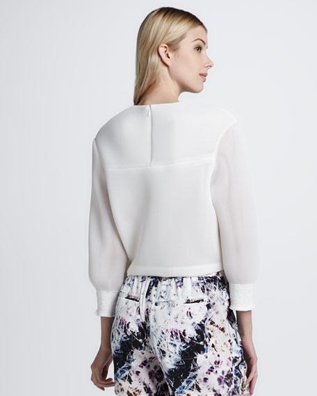 Belcor Sheer-Sleeve Blouse
