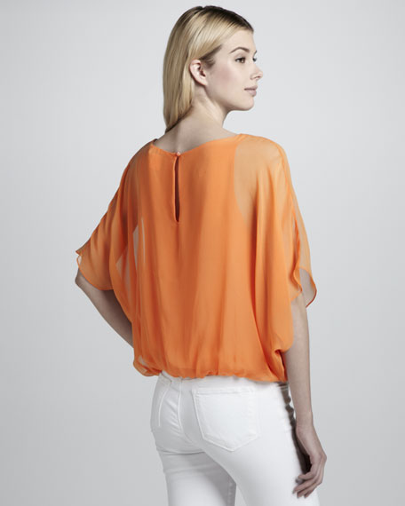 Strayla Sheer-Sleeve Blouse