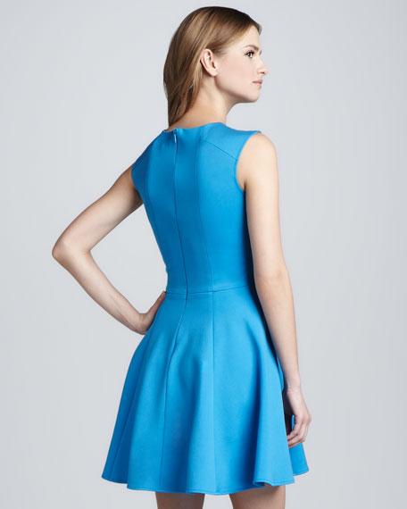 Ponte Knit Crisscross-Neck Dress