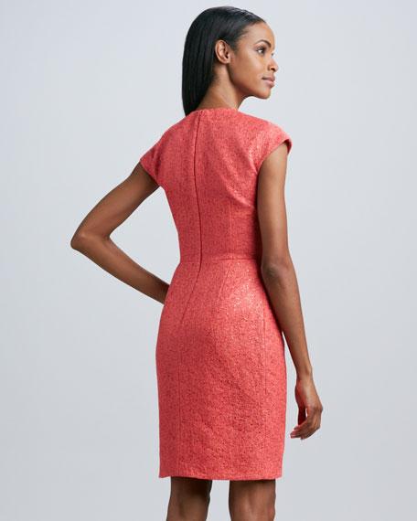 Sequined Lace V-Neck Cocktail Dress
