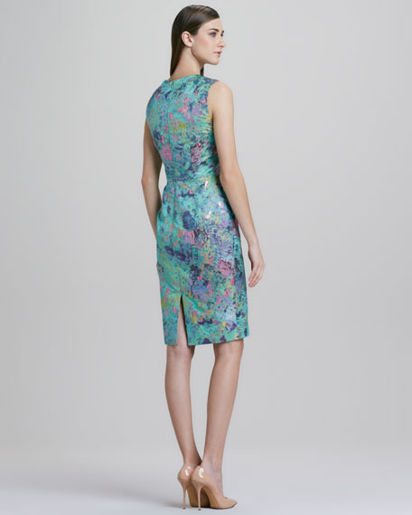 Sleeveless Slim Brocade Floral Dress