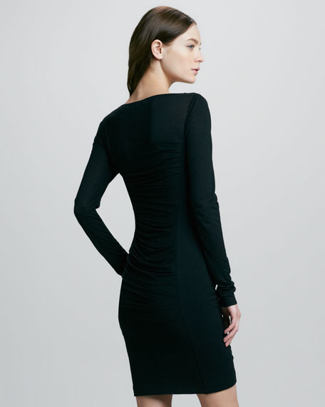 Lerosa Ruched Straight-Side Jersey Dress
