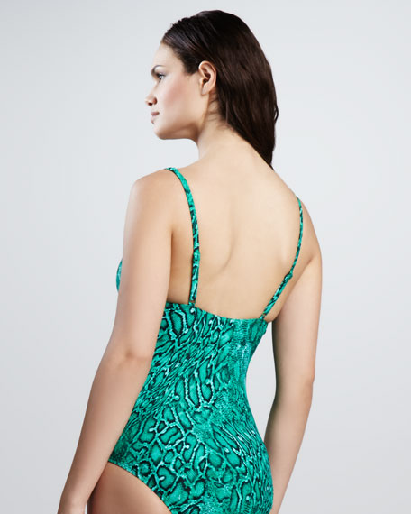 Tropical Nights Twisted One-Piece, Parakeet