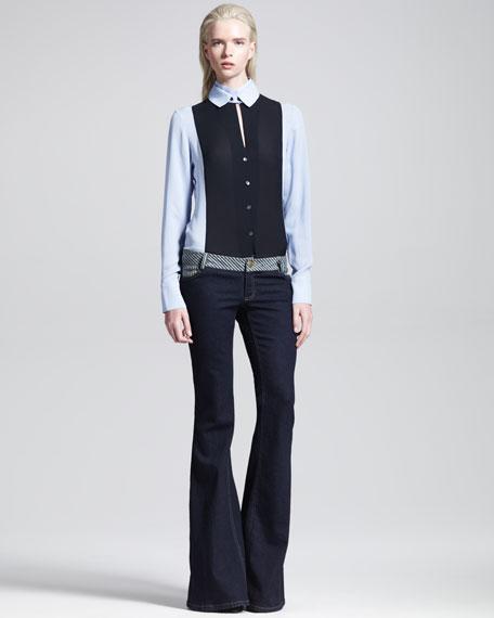 Low-Waist Stripe-Trim Flared Jeans