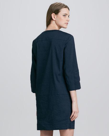 Helda Linen-Blend Dress, True Navy