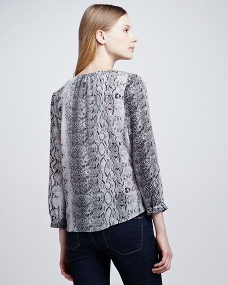 Pearline Snake-Print Blouse