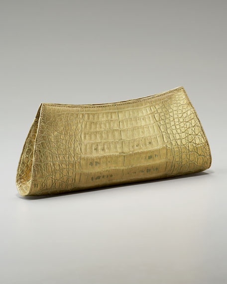 Crocodile Trapezoid Clutch, Metallic