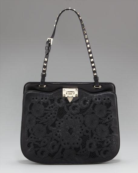 Rockstud Inlaid Lace Shoulder Bag
