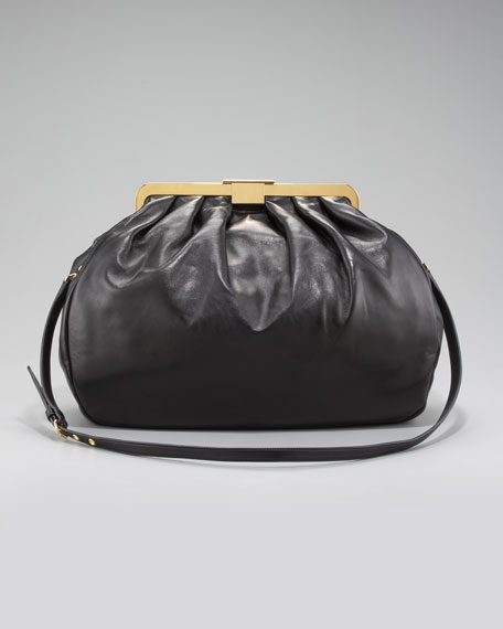Matelasse Frame-Top Bag, Small