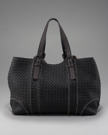 Topstitched Woven Leather Tote