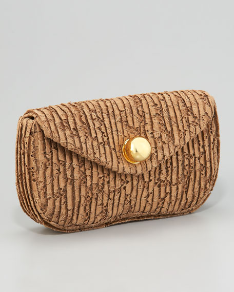 Ball-Clasp Lace Clutch Bag