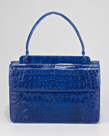 Flap-Front Crocodile Satchel Bag