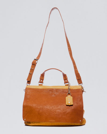 Fold-Over Flap-Top Satchel Bag