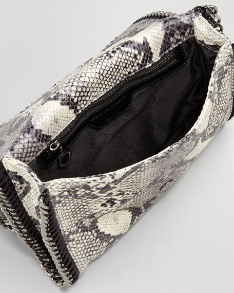 Faux-Python Flap-Top Crossbody Bag