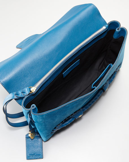 Suede Fold-Over Clutch Bag, Prussian Blue