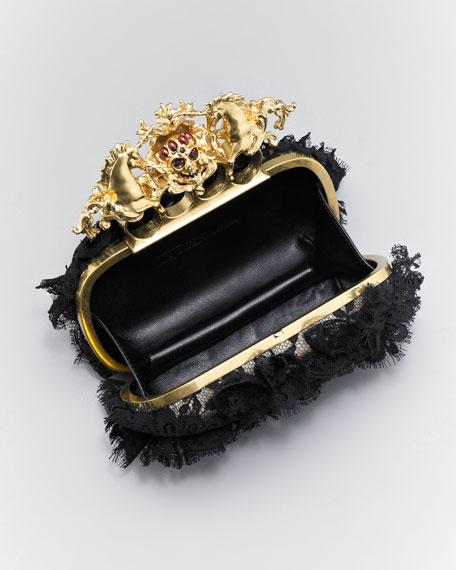 Lace Unicorn & Skull-Clasp Clutch Bag
