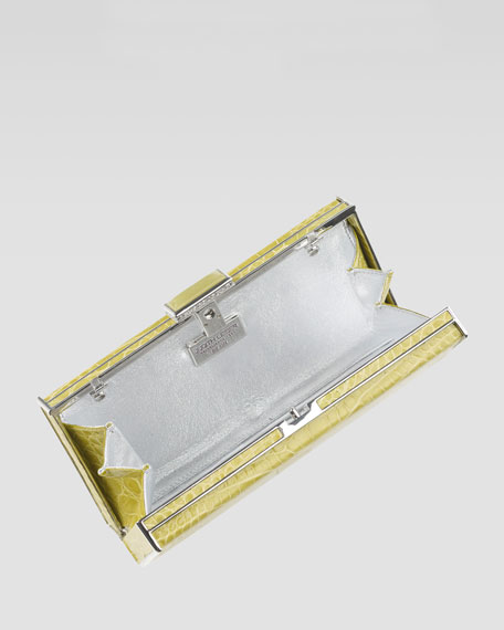 East-West Rectangle Clutch Bag, Chartreuse