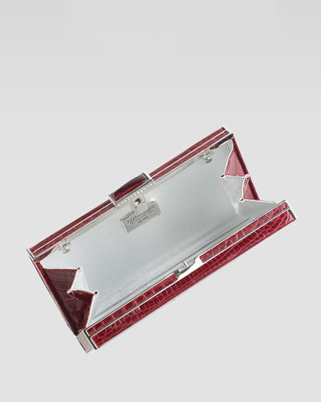 East-West Rectangle Clutch Bag, Crimson