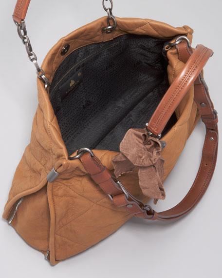 Amalia Quilted Lambskin Bucket Tote Bag, Mocha