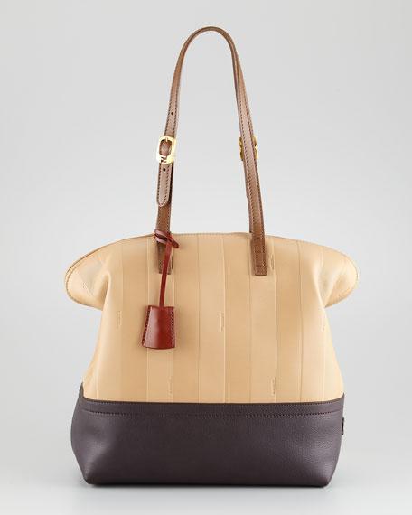 43c953c04fbc Fendi Pequin Tonal-Stripe Leather 2Bag