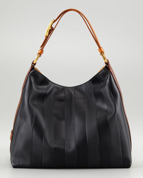 Pequin Tonal-Stripe Hobo Bag