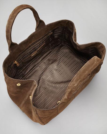 Suede Logo Tote Bag