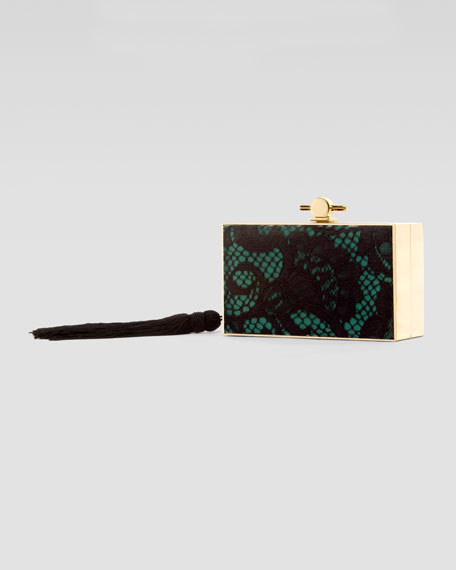 Chinoiserie Embroidered & Beaded Box Clutch Bag