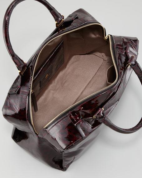 Animal-Print Patent Leather Bowler Bag, Plum