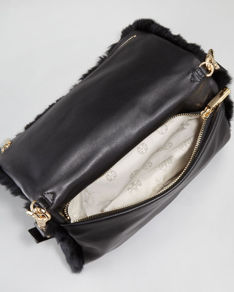 Peyson Rabbit Fur Fold-Over Clutch Bag