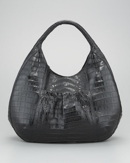 Ruffle-Pocket Croc Hobo Bag