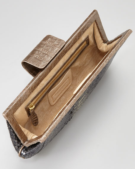 Crocodile-Framed Python Clutch Bag