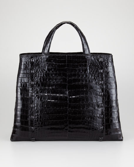 Studded Crocodile Tote Bag