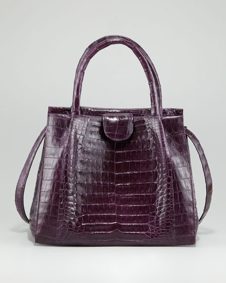 Pleated-Front Crocodile Tote Bag